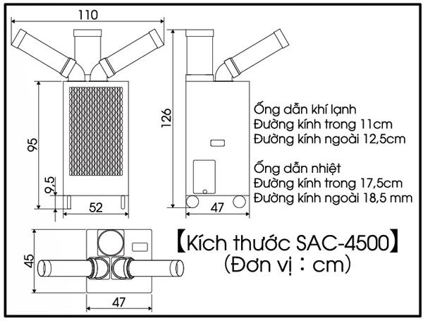 Cấu tạo kích thước máy lạnh di động Nakatomi SAC- 4500