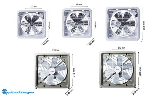Các kích thước quạt thông gió công nghiệp